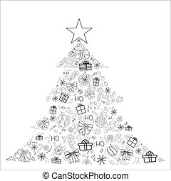 Cover design in the form of a Christmas tree on a white background with black elements for decorative design. Happy new year ornament. Vector illustration of an abstract shape. Greeting card Christmas balls, gifts, sweets, holly, bows. EPS 10