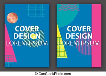 Cover design poster with geometric elements in the style of...