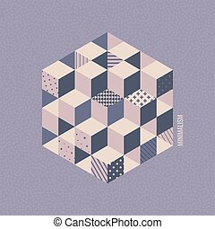 Cover design template. Abstract geometric background with cubes. Vector illustration. Can be used for advertising, marketing, presentation.