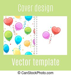 Cover design with cartoon balloons pattern