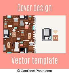 Cover design with coffee maker pattern