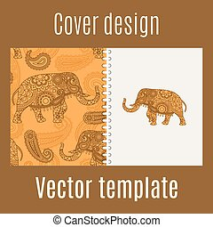 Cover design with indian elephant pattern