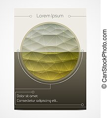 Cover design with polygonal circle. Horizon line in a round frame. Wheat field. Geometric style
