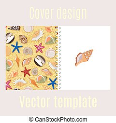 Cover design with sea shells pattern