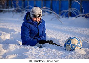 cover., esfera football, tocando, aluno, inverno, menino, ...