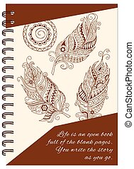 cover feathers boho design of the notebook