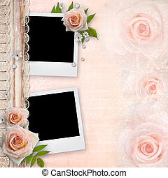 cover for an album with frames for photos and roses