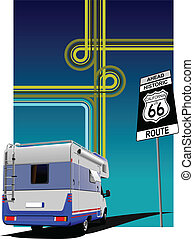 Cover for brochure with camper van and junction image. Route...