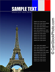 Cover for brochure with France images. Vector illustration