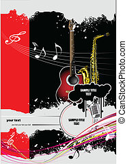 Cover for brochure with music images. Vector colored...