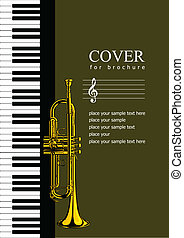 Cover for brochure with Piano and trumpet images. Vector...