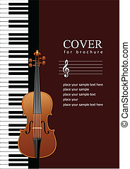 Cover for brochure with Piano with violin images. Vector ...