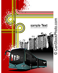 Cover for brochure with urban background and bus image. Vector illustration