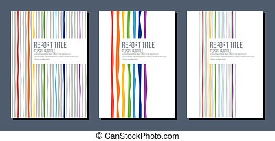 cover for report brochure flyer with rainbow colors curved stripes