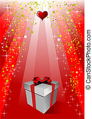 Cover for Valentine`s Day with gift box image. Vector
