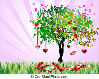 Cover for Valentine`s Day with hearts image. Vector Holiday, wedding,