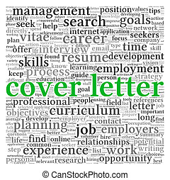 Cover letter concept in word tag cloud on white background