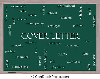 Cover Letter Word Cloud Concept on a Blackboard with great...