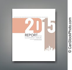 Cover Report number 2015 and silhouette building design background, vector illustration