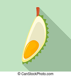 Cover slice durian icon, flat style
