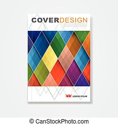 Cover template, brochure template layout, book cover, annual report, magazine or booklet with colorful geometric design on white background for corporate business in A4 size, vector illustration