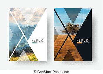 Cover template for a report in a minimalistic style with triangular design elements for a photo. A set of modern flyers for business or trips with photos of mountains and landscapes. photo from a mosaic for a sample.