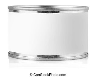 Cover tin with label isolated on white background.