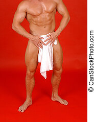 cover up - body builder with white towel