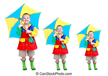 Coverage in case of a leak - Triple image of a little boy...