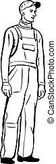 coveralls, casquette, gants, croquis, ouvrier