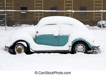 coverd, oud, sneeuw, tijdopnemer, auto