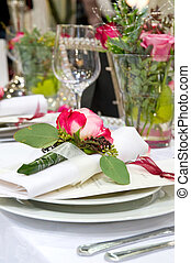 Covered banquet with red