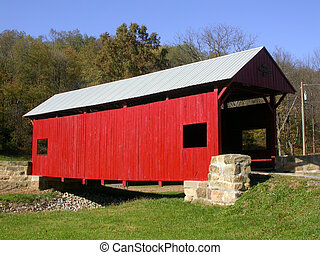 covered bridge 1 - a red covered bridge shot from a three...