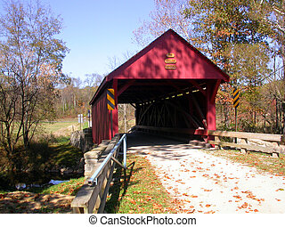 covered bridge 2 - a red covered bridge shot from a front ...
