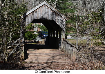 Covered bridge - A covered bridge over a small stream