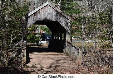 Covered bridge - A covered bridge over a small stream