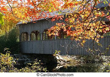 covered bridge and autumn - covered bridge in north carolina...