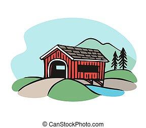 Covered bridge illustration. Classic rural american bridge...