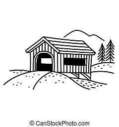 Covered bridge illustration. - Covered bridge line art...