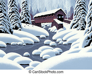 Covered Bridge - Image from an original painting by Larry ...