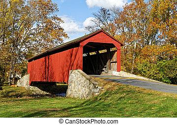Covered Bridge in Autumn - Pool Forge covered bridge in Fall...