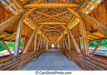 Covered bridge - Interior of a covered bridge. High dynamic ...