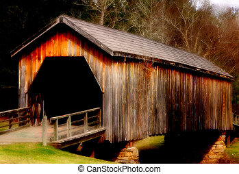 Covered Bridge Nosta - Old covered bridge in rural Georgia