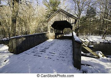 Wooden bridge near Chapman Falls in Devils Hopyard State Park