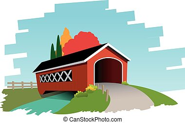 Covered bridge - Vector illustration of covered bridge