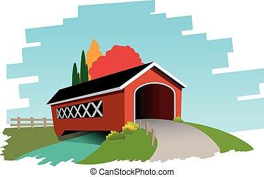 Covered bridge - Vector illustration of covered bridge