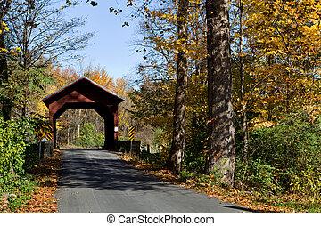 Covered Bridge - Wooden covered bridge in autumn crossed...