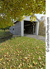 Covered bridges in Northeast Ohio Counties. Early Fall season.