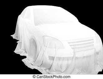 Covered Car on a car show. isolated