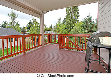 Deck near dining room. Large home for sale near Tacoma, WA. Canon 5D mark II. 16mm.